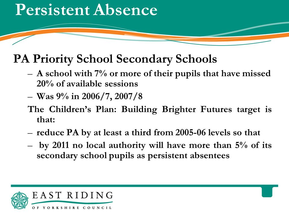 East Riding of Yorkshire Council County Hall Beverley East Riding of Yorkshire HU17 9BA Telephone 01482 887700 www.eastriding.gov.uk 13 Persistent Absence PA Priority School Secondary Schools –A school with 7% or more of their pupils that have missed 20% of available sessions –Was 9% in 2006/7, 2007/8 The Childrens Plan: Building Brighter Futures target is that: –reduce PA by at least a third from 2005-06 levels so that – by 2011 no local authority will have more than 5% of its secondary school pupils as persistent absentees
