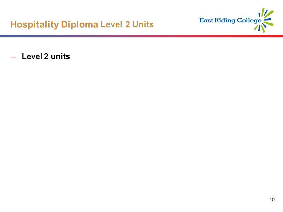 19 Hospitality Diploma Level 2 Units –Level 2 units