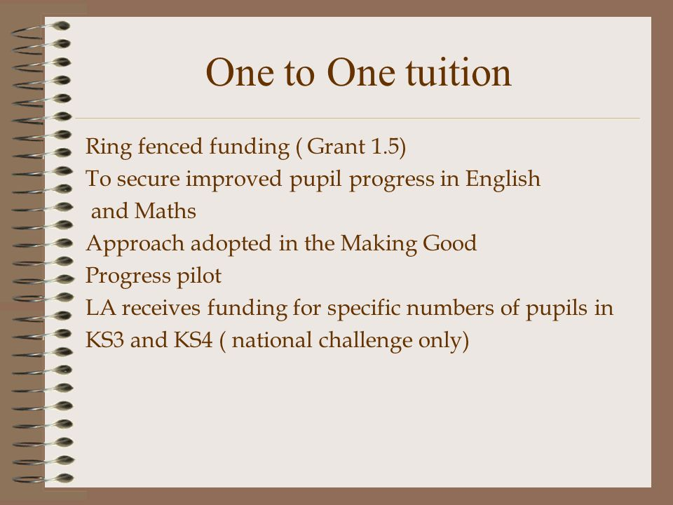 One to One tuition Ring fenced funding ( Grant 1.5) To secure improved pupil progress in English and Maths Approach adopted in the Making Good Progress pilot LA receives funding for specific numbers of pupils in KS3 and KS4 ( national challenge only)