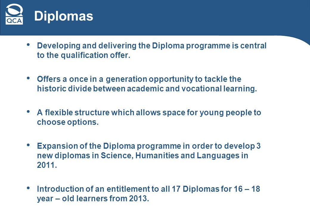 Developing and delivering the Diploma programme is central to the qualification offer.