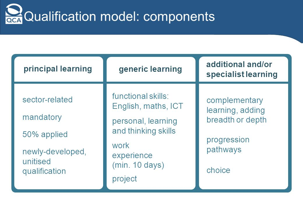 Qualification model: components generic learning functional skills: English, maths, ICT personal, learning and thinking skills work experience (min.