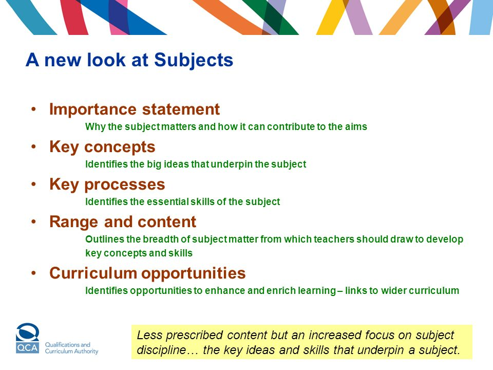 A fresh look at the curriculum Importance statement Why the subject matters and how it can contribute to the aims Key concepts Identifies the big ideas that underpin the subject Key processes Identifies the essential skills of the subject Range and content Outlines the breadth of subject matter from which teachers should draw to develop key concepts and skills Curriculum opportunities Identifies opportunities to enhance and enrich learning – links to wider curriculum A new look at Subjects Less prescribed content but an increased focus on subject discipline… the key ideas and skills that underpin a subject.
