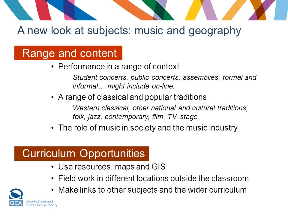 A new look at subjects: music and geography Range and content Performance in a range of context Student concerts, public concerts, assemblies, formal and informal… might include on-line.