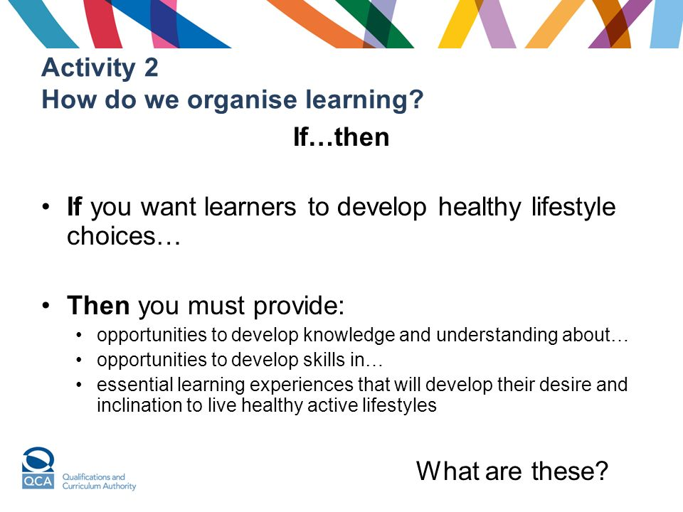 Activity 2 How do we organise learning.