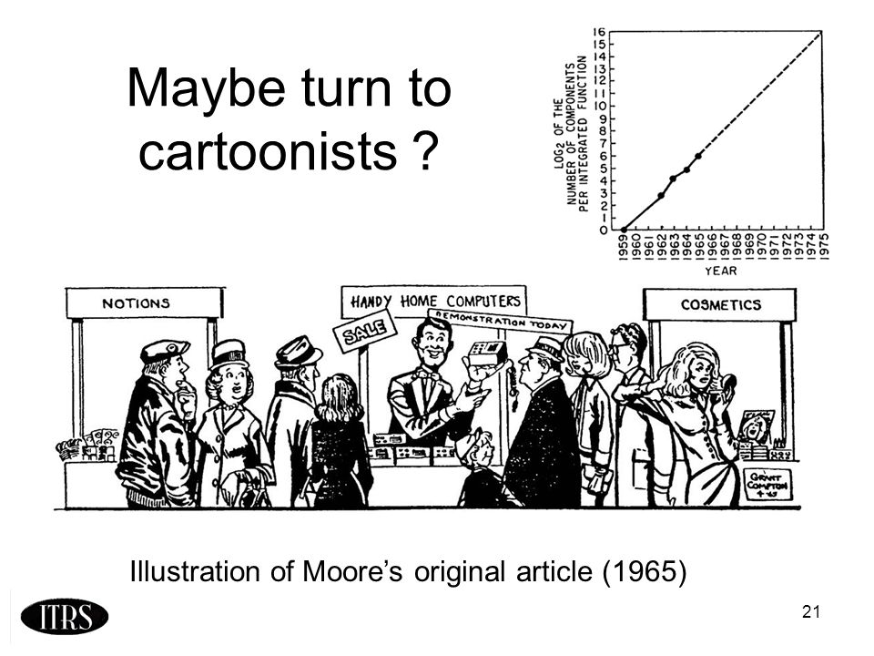 21 Maybe turn to cartoonists ? Illustration of Moores original article (1965)