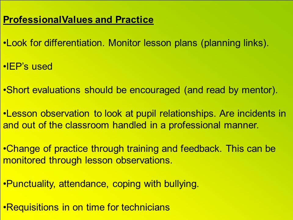 ProfessionalValues and Practice Look for differentiation.