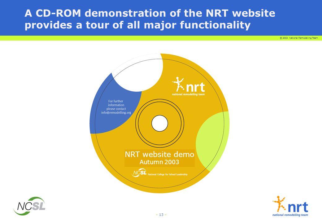 © 2003 National Remodelling Team – 13 – NRT website demo Autumn 2003 A CD-ROM demonstration of the NRT website provides a tour of all major functional