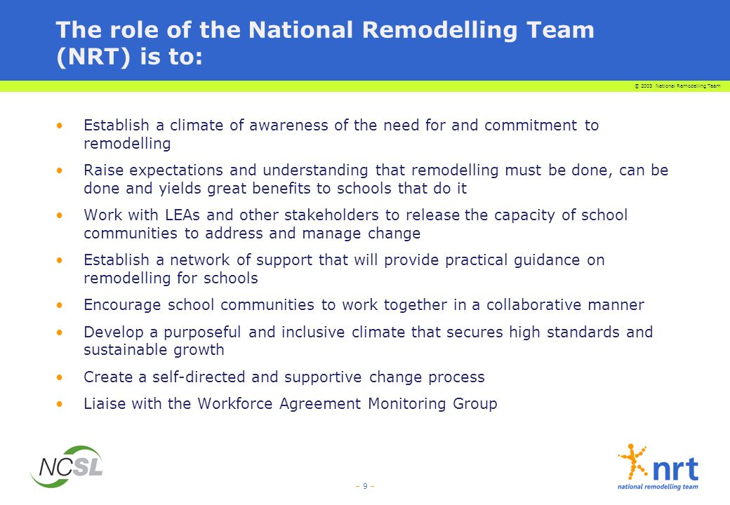 © 2003 National Remodelling Team – 9 – The role of the National Remodelling Team (NRT) is to: Establish a climate of awareness of the need for and commitment to remodelling Raise expectations and understanding that remodelling must be done, can be done and yields great benefits to schools that do it Work with LEAs and other stakeholders to release the capacity of school communities to address and manage change Establish a network of support that will provide practical guidance on remodelling for schools Encourage school communities to work together in a collaborative manner Develop a purposeful and inclusive climate that secures high standards and sustainable growth Create a self-directed and supportive change process Liaise with the Workforce Agreement Monitoring Group
