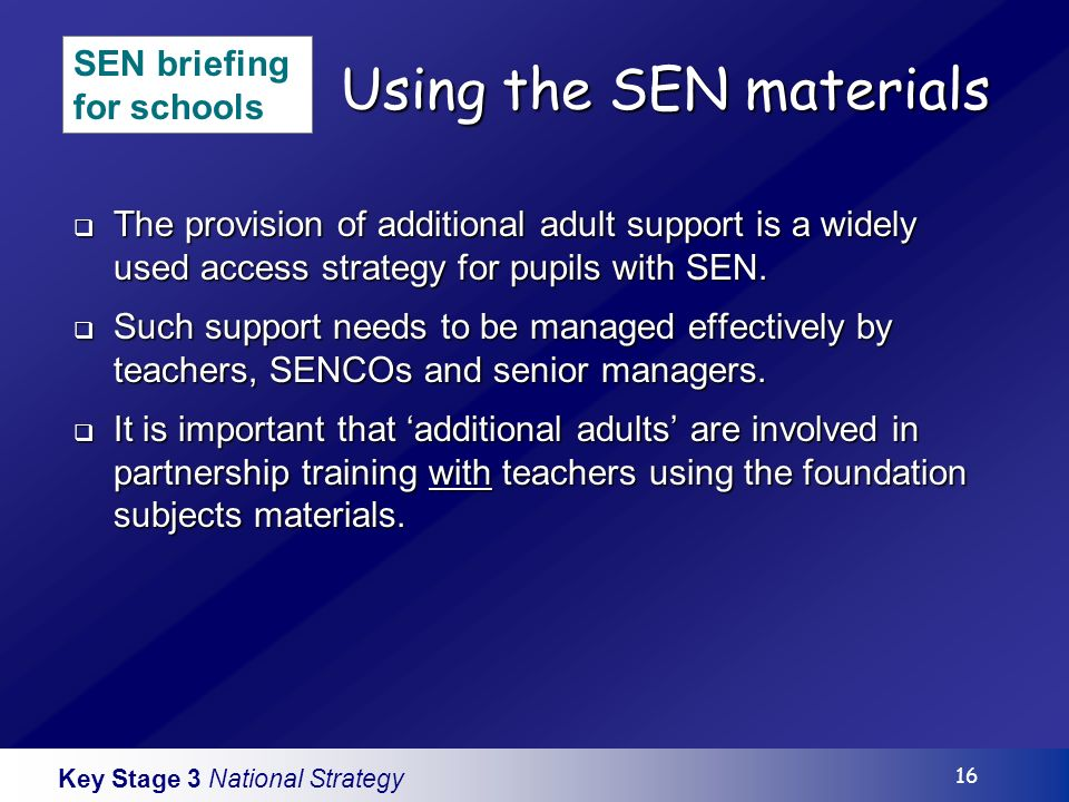Key Stage 3 National Strategy 16 Using the SEN materials The provision of additional adult support is a widely used access strategy for pupils with SEN.