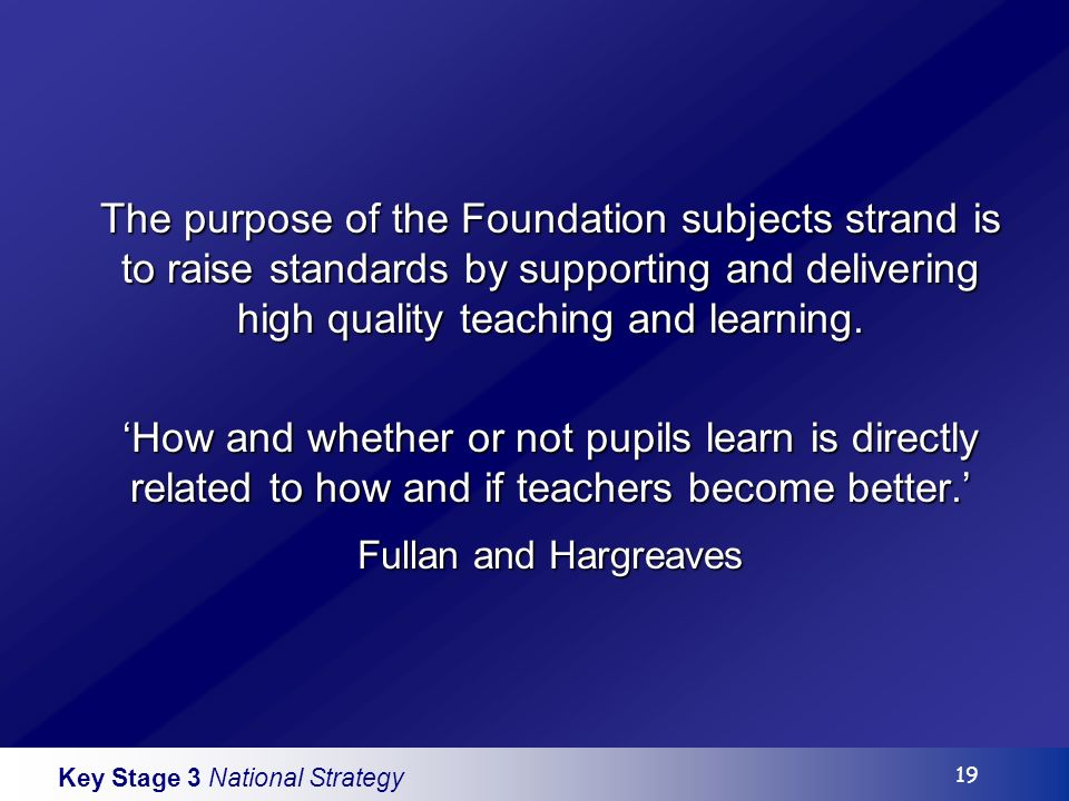 Key Stage 3 National Strategy 19 The purpose of the Foundation subjects strand is to raise standards by supporting and delivering high quality teaching and learning.