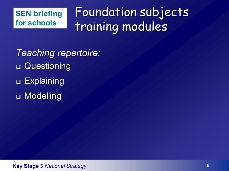 Key Stage 3 National Strategy 8 Foundation subjects training modules Teaching repertoire: Questioning Questioning Explaining Explaining Modelling Modelling SEN briefing for schools