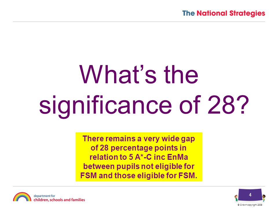 © Crown copyright 2009 4 Whats the significance of 28.