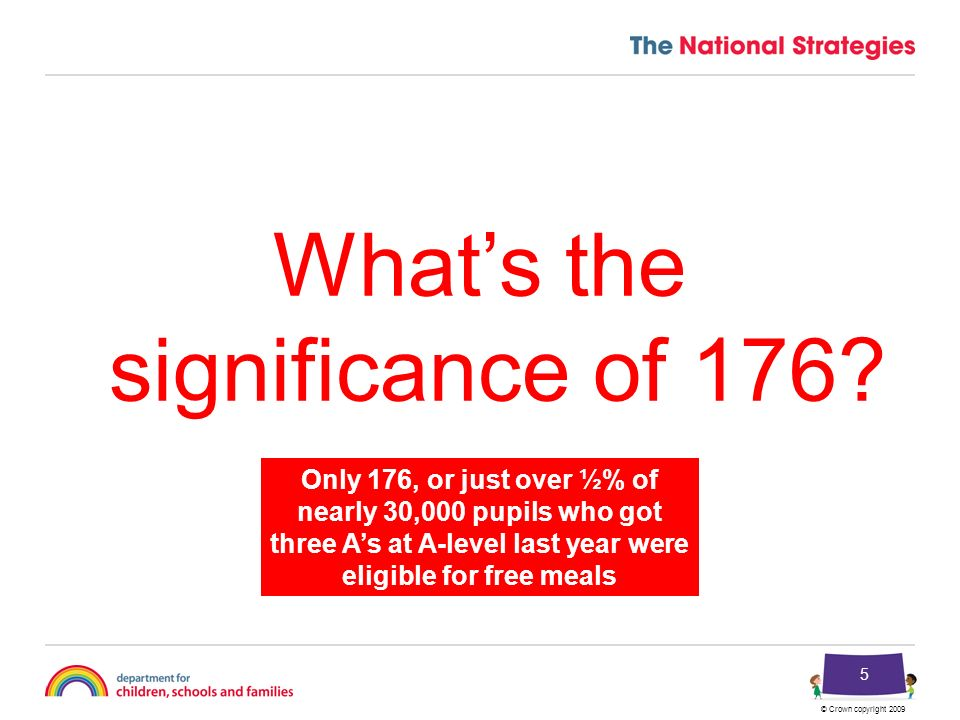 © Crown copyright 2009 5 Whats the significance of 176.