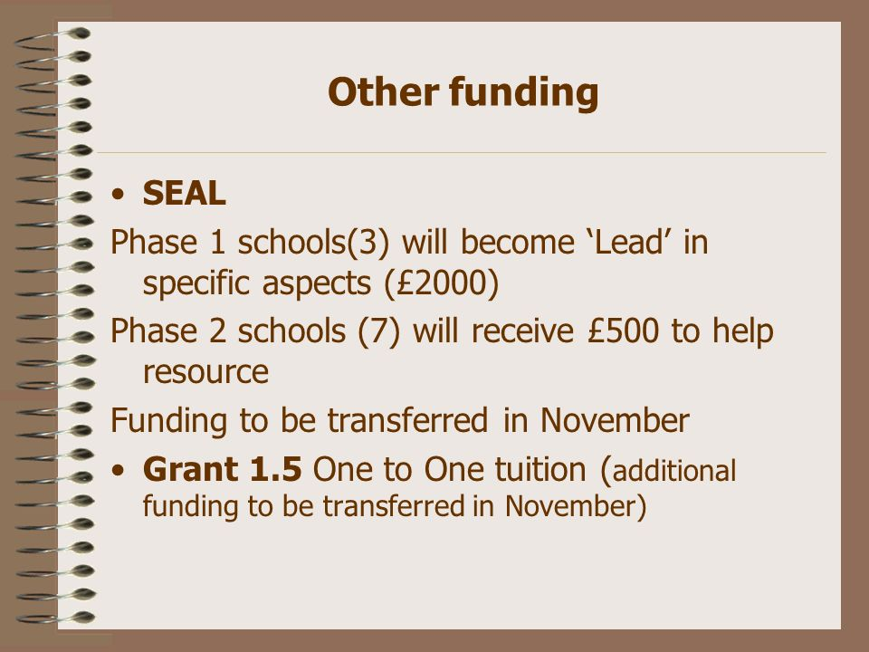 Other funding SEAL Phase 1 schools(3) will become Lead in specific aspects (£2000) Phase 2 schools (7) will receive £500 to help resource Funding to b