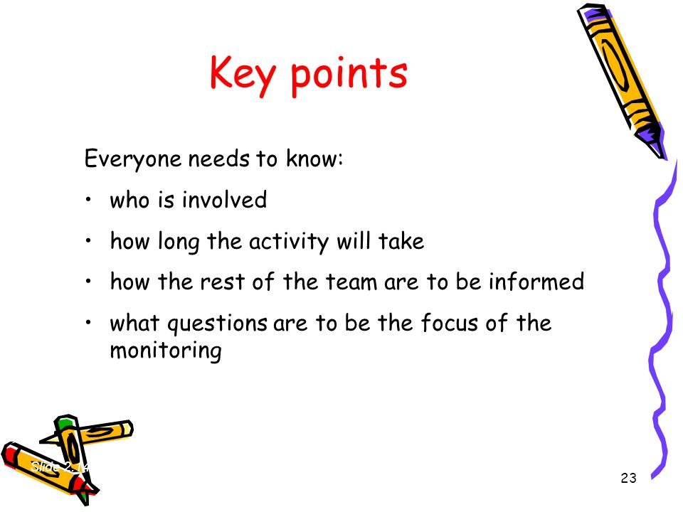 23 Key points Everyone needs to know: who is involved how long the activity will take how the rest of the team are to be informed what questions are t