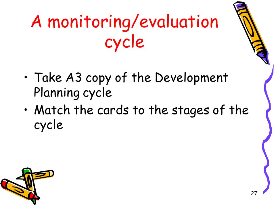 27 A monitoring/evaluation cycle Take A3 copy of the Development Planning cycle Match the cards to the stages of the cycle
