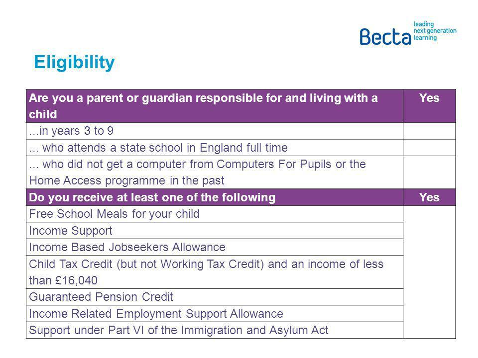 Eligibility Are you a parent or guardian responsible for and living with a child Yes...in years 3 to 9...