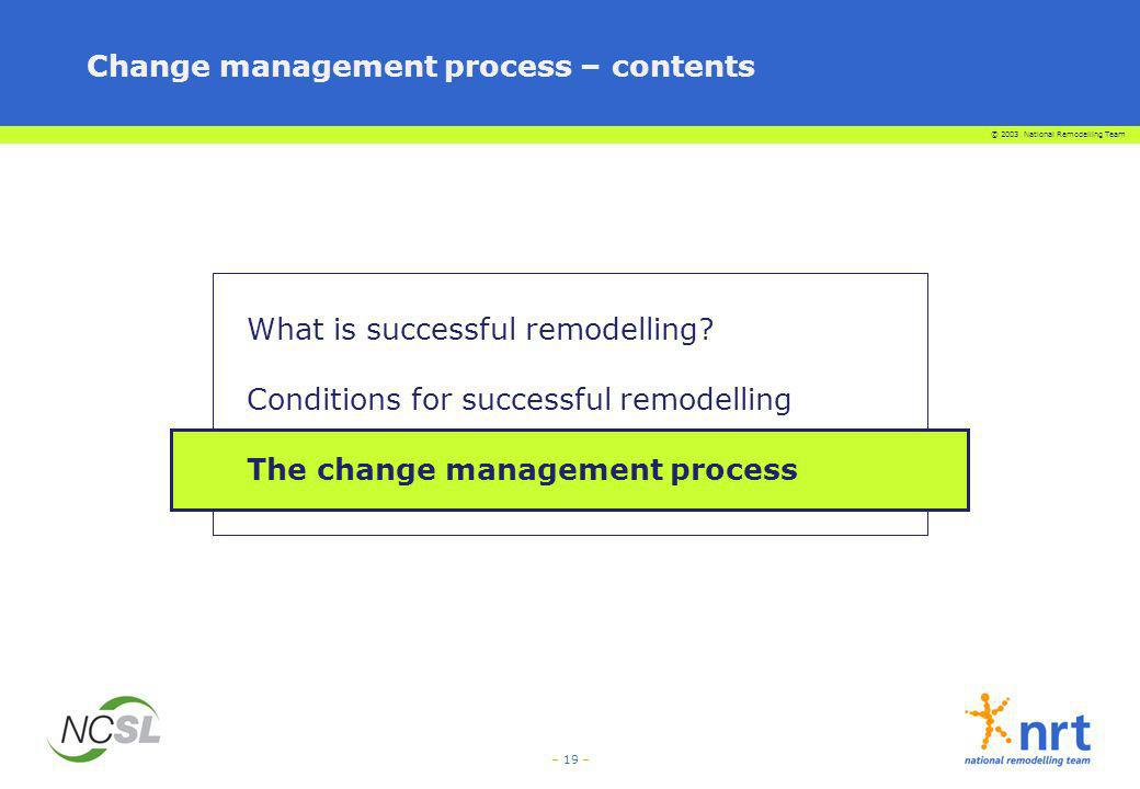 © 2003 National Remodelling Team – 19 – Change management process – contents What is successful remodelling? Conditions for successful remodelling The