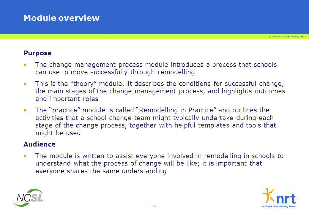– 2 – Module overview Purpose The change management process module introduces a process that schools can use to move successfully through remodelling