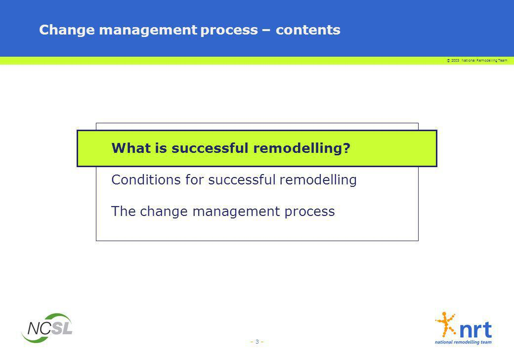 © 2003 National Remodelling Team – 3 – Change management process – contents What is successful remodelling? Conditions for successful remodelling The