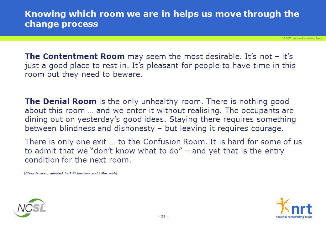 © 2003 National Remodelling Team – 35 – Knowing which room we are in helps us move through the change process The Contentment Room may seem the most d