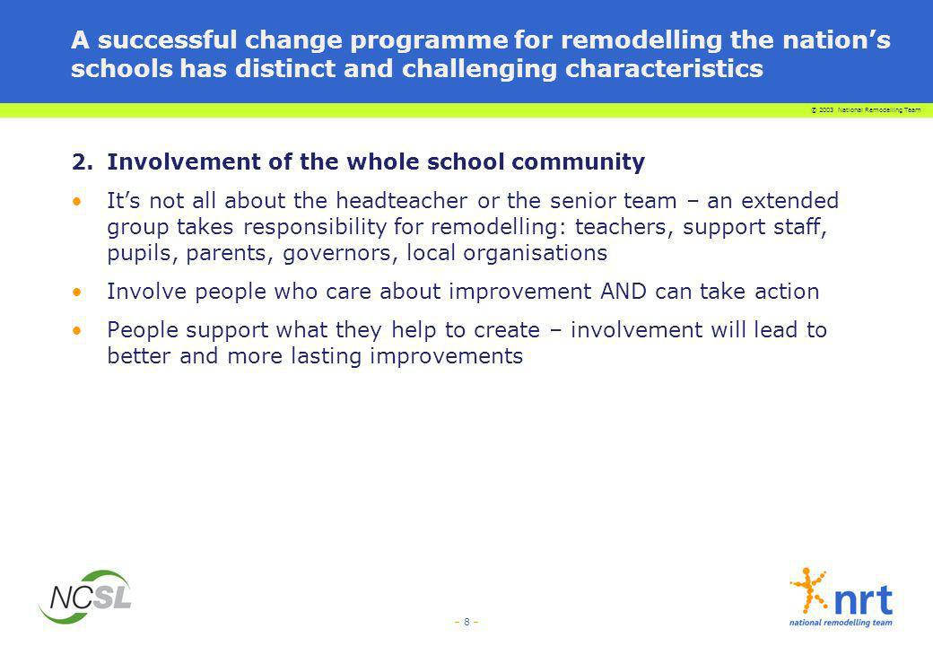 © 2003 National Remodelling Team – 8 – A successful change programme for remodelling the nations schools has distinct and challenging characteristics