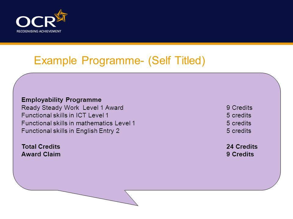 Example Programme- (Self Titled) Employability Programme Ready Steady Work Level 1 Award9 Credits Functional skills in ICT Level 1 5 credits Functional skills in mathematics Level 1 5 credits Functional skills in English Entry 2 5 credits Total Credits24 Credits Award Claim9 Credits