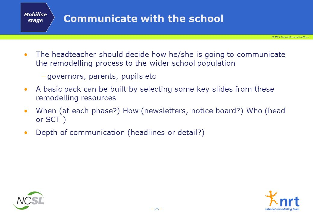 © 2003 National Remodelling Team – 25 – Communicate with the school The headteacher should decide how he/she is going to communicate the remodelling p