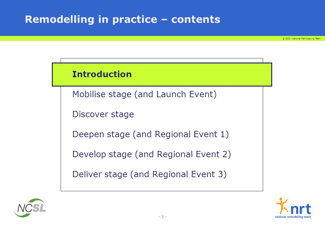© 2003 National Remodelling Team – 44 – Remodelling in practice – contents Introduction Mobilise stage (and Launch Event) Discover stage Deepen stage (and Regional Event 1) Develop stage (and Regional Event 2) Deliver stage (and Regional Event 3)