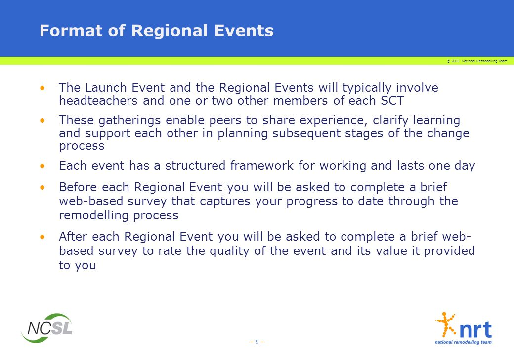 © 2003 National Remodelling Team – 10 – Each Regional Event will: Involve a number of schools who are following the remodelling process and will be facilitated by the LEA Remodelling Adviser Involve elements of both review and forward planning Enable participants to experience some of the tools they might use, putting them to work on real issues Include several opportunities for formal and informal networking during the day Become increasingly self-directed by the participants Link closely to and directly draw on all remodelling resources available through the NRT website