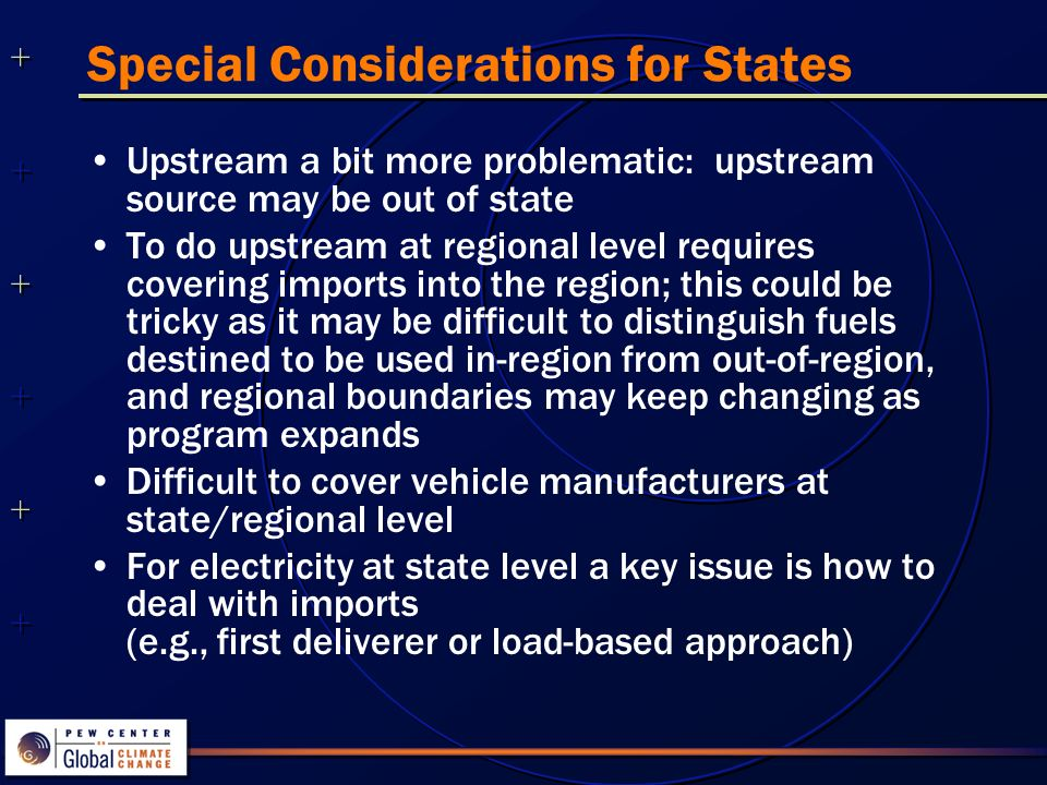 ++++++++++++++ ++++++++++++++ Special Considerations for States Upstream a bit more problematic: upstream source may be out of state To do upstream at regional level requires covering imports into the region; this could be tricky as it may be difficult to distinguish fuels destined to be used in-region from out-of-region, and regional boundaries may keep changing as program expands Difficult to cover vehicle manufacturers at state/regional level For electricity at state level a key issue is how to deal with imports (e.g., first deliverer or load-based approach)