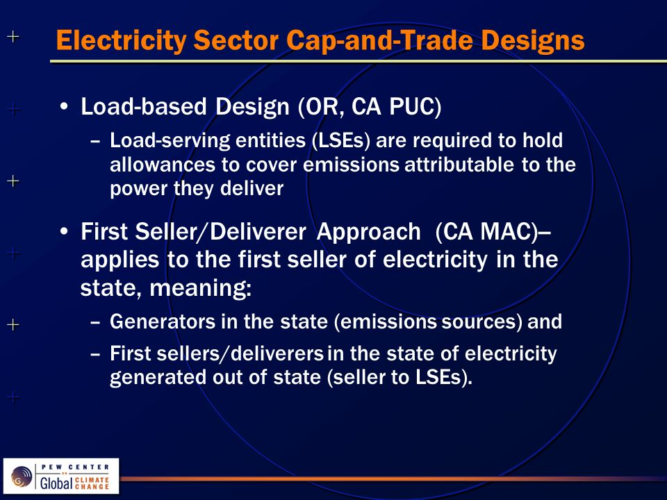 Electricity Sector Cap-and-Trade Designs Load-based Design (OR, CA PUC) –Load-serving entities (LSEs) are required to hold allowances to cover emissions attributable to the power they deliver First Seller/Deliverer Approach (CA MAC)-- applies to the first seller of electricity in the state, meaning: –Generators in the state (emissions sources) and –First sellers/deliverers in the state of electricity generated out of state (seller to LSEs).