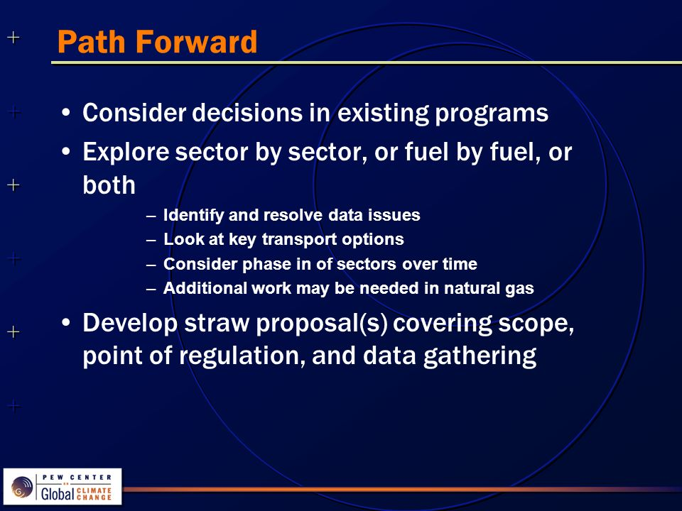 ++++++++++++++ ++++++++++++++ Path Forward Consider decisions in existing programs Explore sector by sector, or fuel by fuel, or both –Identify and resolve data issues –Look at key transport options –Consider phase in of sectors over time –Additional work may be needed in natural gas Develop straw proposal(s) covering scope, point of regulation, and data gathering
