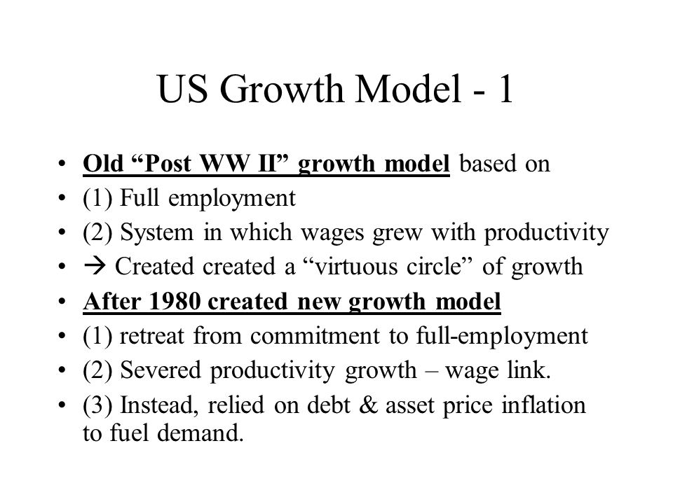 US Growth Model - 2 Features of new model visible in all business cycles post-1980 Business cycles of Reagan, Bush pere, Clinton, & Bush fils have common features that make them remarkably simialr.