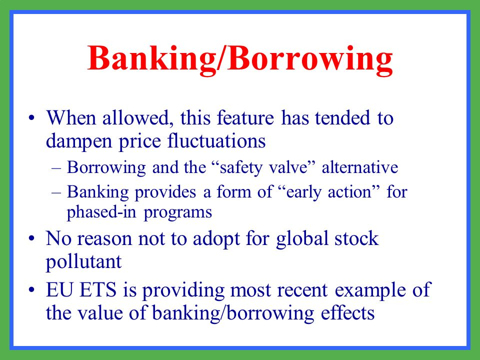 Banking/Borrowing When allowed, this feature has tended to dampen price fluctuations –Borrowing and the safety valve alternative –Banking provides a f