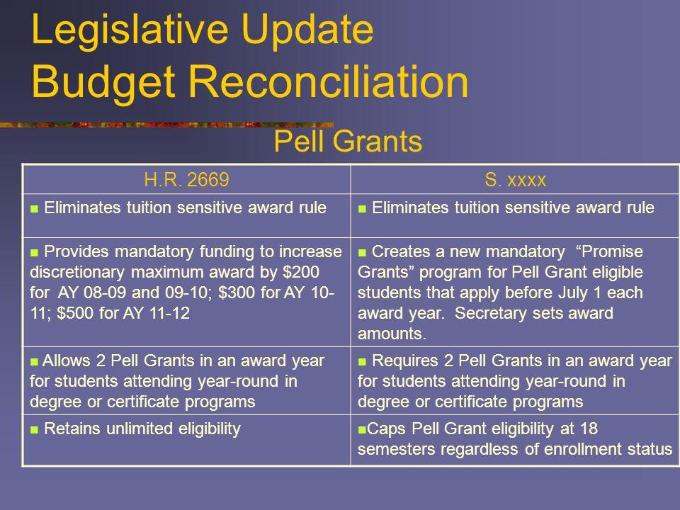 Legislative Update Budget Reconciliation H.R. 2669S.