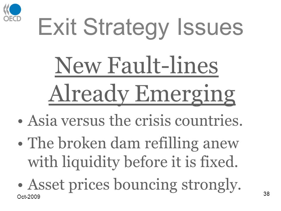 Exit Strategy Issues New Fault-lines Already Emerging Asia versus the crisis countries.