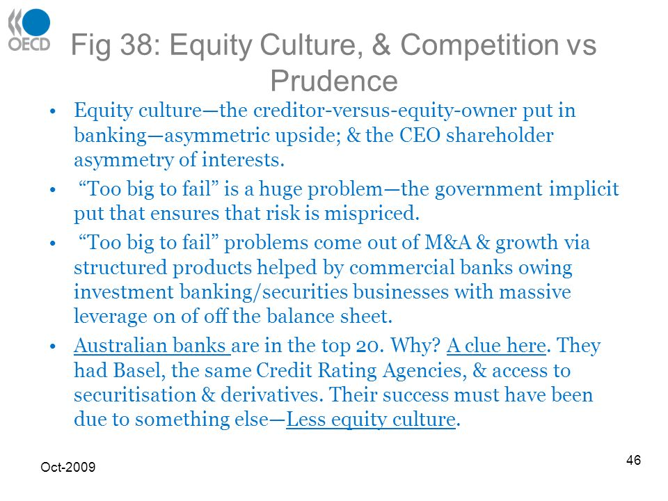 Fig 38: Equity Culture, & Competition vs Prudence Equity culturethe creditor-versus-equity-owner put in bankingasymmetric upside; & the CEO shareholder asymmetry of interests.