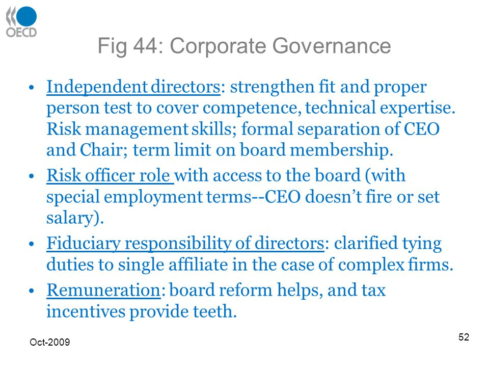 Fig 44: Corporate Governance Independent directors: strengthen fit and proper person test to cover competence, technical expertise.