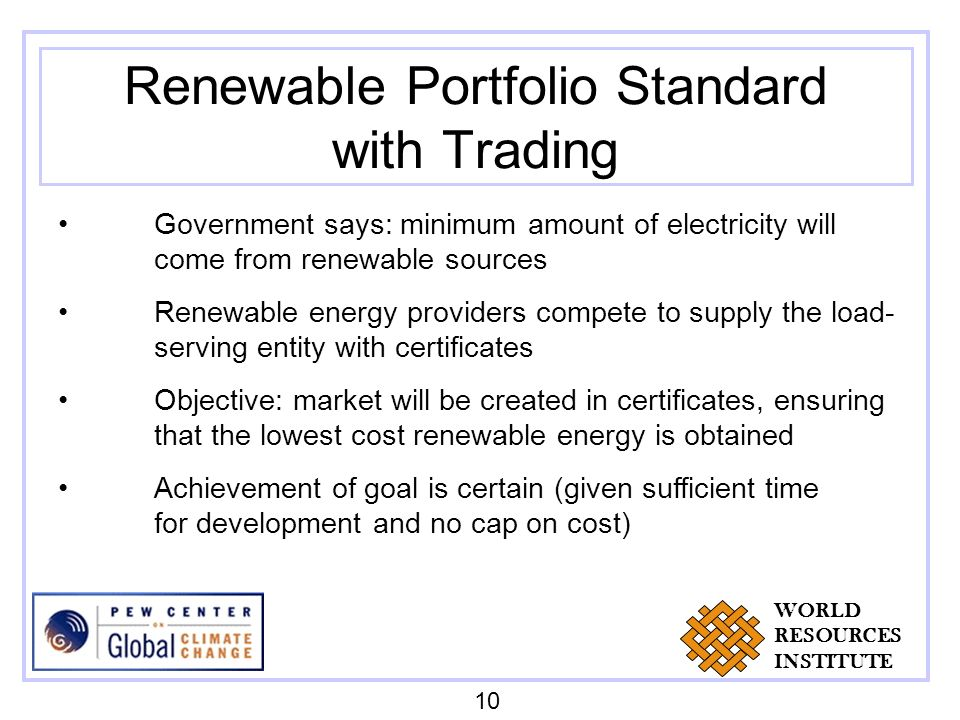 Renewable Portfolio Standard with Trading Government says: minimum amount of electricity will come from renewable sources Renewable energy providers compete to supply the load- serving entity with certificates Objective: market will be created in certificates, ensuring that the lowest cost renewable energy is obtained Achievement of goal is certain (given sufficient time for development and no cap on cost) 10 WORLD RESOURCES INSTITUTE