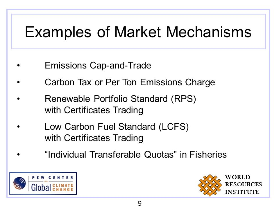 Examples of Market Mechanisms Emissions Cap-and-Trade Carbon Tax or Per Ton Emissions Charge Renewable Portfolio Standard (RPS) with Certificates Trad