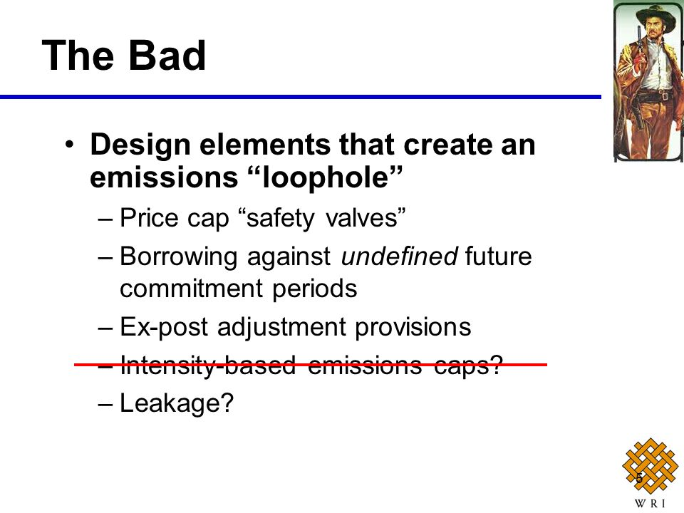 5 Design elements that create an emissions loophole –Price cap safety valves –Borrowing against undefined future commitment periods –Ex-post adjustmen