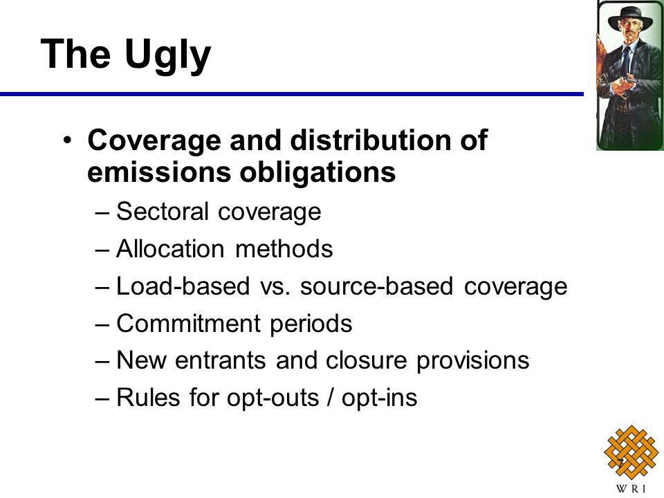 7 Coverage and distribution of emissions obligations –Sectoral coverage –Allocation methods –Load-based vs. source-based coverage –Commitment periods
