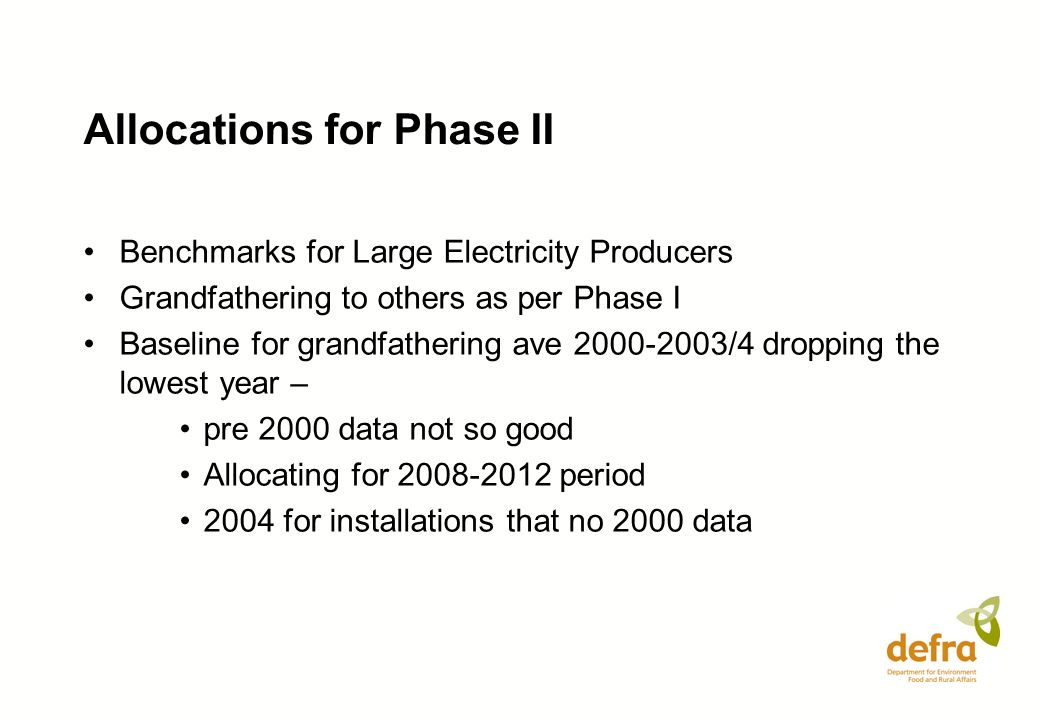 Allocations for Phase II Benchmarks for Large Electricity Producers Grandfathering to others as per Phase I Baseline for grandfathering ave 2000-2003/