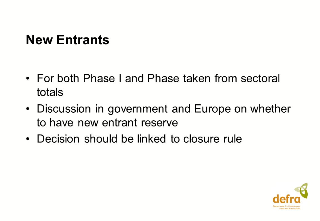 New Entrants For both Phase I and Phase taken from sectoral totals Discussion in government and Europe on whether to have new entrant reserve Decision