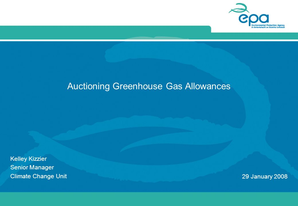 Auctioning Greenhouse Gas Allowances Kelley Kizzier Senior Manager Climate Change Unit 29 January 2008