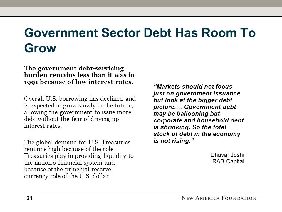 Government Sector Debt Has Room To Grow Markets should not focus just on government issuance, but look at the bigger debt picture.… Government debt may be ballooning but corporate and household debt is shrinking.
