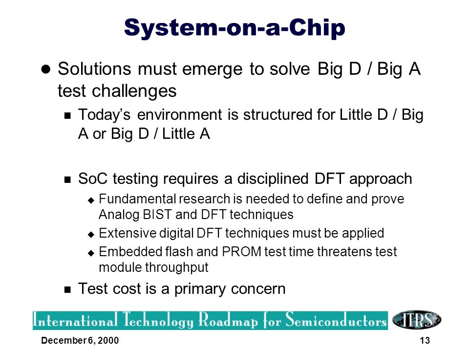 December 6, 200013 System-on-a-Chip Solutions must emerge to solve Big D / Big A test challenges Todays environment is structured for Little D / Big A
