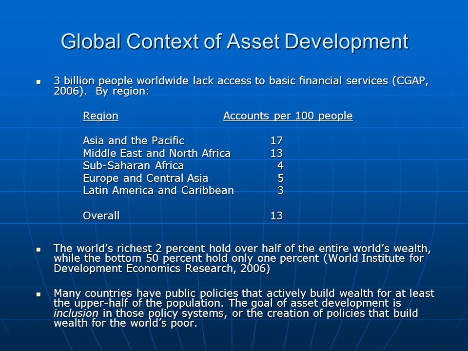 Global Context of Asset Development 3 billion people worldwide lack access to basic financial services (CGAP, 2006).