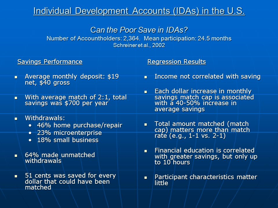 Individual Development Accounts (IDAs) in the U.S.
